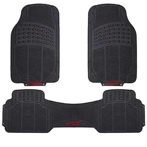 Xtremeauto® 3 Piece Universal Fit Waterproof Heavy Duty BLACK Rubber Front & Rear Car Non-Slip Floor Mats