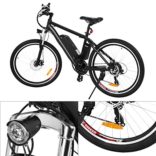 Product Image 4: Kemanner 26 inch Electric Mountain Bike 21 Speed 36V 8A Lithium Battery Electric Bicycle for Adult (Black) (Black)