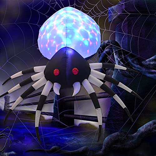 GOOSH 6 FT Height Halloween Inflatables Outdoor Spider with Magic Light, Blow Up Yard Decoration Clearance with LED Lights Built-in for Holiday/Party/Yard/Garden