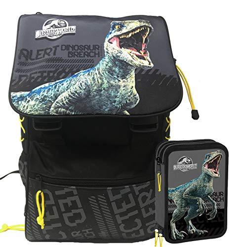 Jurassic World Schoolpack Zaino Scuola Estensibile pi Astuccio 3 Zip Completo di Cancelleria