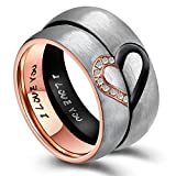 ANAZOZ Hers & Women's for Real Love Heart Promise Ring Stainless Steel Wedding Engagement Bands 6MM...