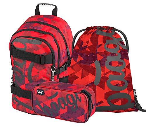 Schulrucksack Set Jungen und Mädchen 3 Teilig, Schultasche ab 3. Klasse, Grundschule Ranzen mit Brustgurt, Ergonomischer Schulranzen (Skate Triangle)