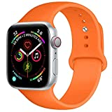 BOTOMALL Compatible With Watch Band 38mm 40mm 42mm 44mm Classic Silicone Sport Replacement Strap Bracelet for iwatch all Models Series 4 Series 3 Series 2 Series 1 S/M M/L (orange, 38/40mm M/L)