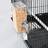 Automatic Bird Seed Feeder with Perch, Free Install Acrylic Transparent Parrot Foraging Feeders Cage Accessories for Small and Medium Parrots Parakeets Cockatiels Lovebirds Sun Conures Caique Finches