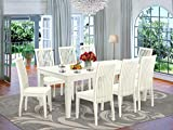 9-Piece Dining Room Set With 1 Logan Kitchen Table And 8 Solid Wood Kitchen Chairs Finished In A Rich Linen White Color.