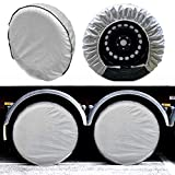 SEAZEN Tire Covers Set of 4, 5 Layer Wheel Covers for RV Trailer Camper Truck Motorhome Auto,Waterproof Sun Rain Frost Snow Protector Aluminum Film,Fit 30' to 33' Tire Diameter