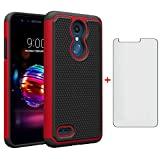 Phone Case for LG K30 2018 5.3/Premier Pro LTE/Phoenix Plus/Harmony 2/K10/Xpression with Tempered Glass Screen Protector Cover and Slim Rugged Cell Accessories LGK30 K 30 30K LMX410 Cases Black Red