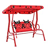 JOYMOR Kids Patio Swing, Upgraded 2-Seats Toddler Porch Swing Glider with Adjustable Canopy and...