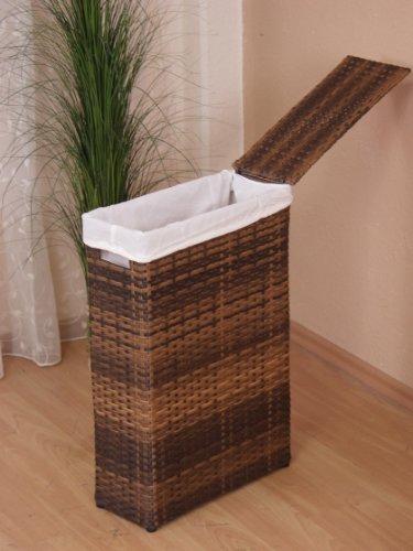 Iovivo Raumspar Wäschekorb aus PVC handgeflochten braun
