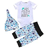 Newborn Baby Boy Clothes Daddy's Fishing Buddy Letter Print Romper+Long Pants+Hat 3PCS Outfits Set (Blue Fish, 0-6M, 70)