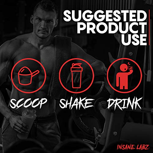 Insane Labz Psychotic Gold, High Stimulant Pre Workout Powder, Extreme Lasting Energy, Focus, Pumps and Endurance with Beta Alanine, DMAE Bitartrate, Citrulline, NO Booster, 35 Srvgs, Gummy Candy 6