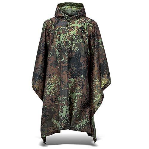 Outdoor Regenponcho   Ripstop Regencape mit Kapuze   Regen Poncho inkl. Tasche   Regenjacke für Damen und Herren - Flecktarn