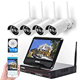 [8CH,Expandable] All in one with 10.1' Monitor Wireless Security Camera System, Cromorc Home Business CCTV Surveillance 1080P NVR, 4pcs 3MP Indoor Outdoor Night Vision One-Way Audio Camera,1TB HDD