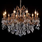 MEEROSEE Crystal Chandeliers Contemporary Chandelier Island Lighting 10 Lights Candle Pendant Ceiling Light Fixture for Dining Room Living Room Kitchen Bedroom Hallway Entry D35.4'