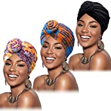 3 Pieces African Turban for Women Pre-Tied Flower Knot Headwrap Beanie Bonnet Cap (Color B)