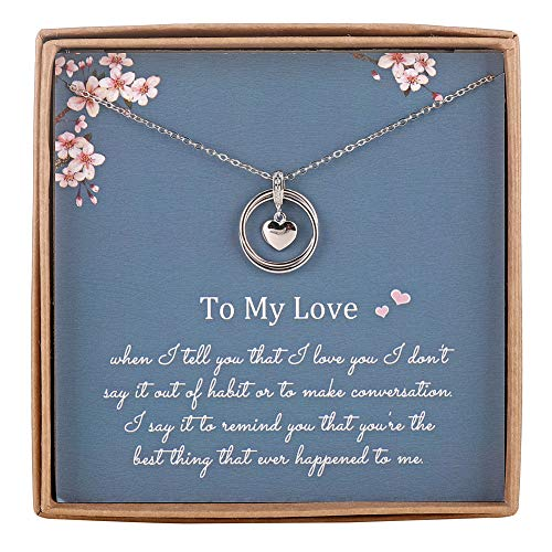 AnalysisyLove Infinity Necklace for Girlfriend/Wife, Sterling Silver Cute I Love You Heart Pendant 2 Circles Jewelry for Her, Valentines Day, Romantic Anniversary, Birthday Gift Ideas