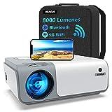 Proyector WiFi Bluetooth 8000 Lúmenes, WiMiUS Proyector Full HD 1080P Nativo Soporte 4K, Proyector WiFi Digital 4D y Función de Zoom 50%, Portátil Proyector Cine en Casa para iOS/Android/PS4/TV Stick