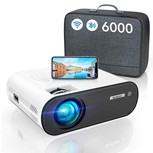 Vidéoprojecteur WiFi Bluetooth, 6000 LM WiMiUS Vidéoprojecteur WiFi Portable Full HD Supporte 1080P Mini Projecteur WiFi LED Home Cinéma Fonction Zoom pour iPhone/Android/TV Stick/PS4/PS5 HDMI USB AV