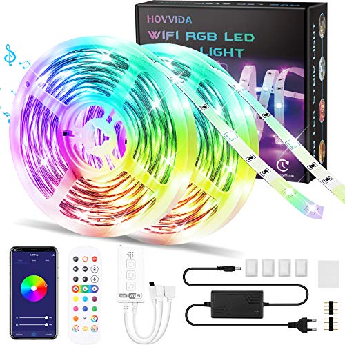 Tiras LED Alexa 20M RGB Música, Compatible con Alexa y Google Home HOVVIDA Luces de Tiras LED 5050 12V para Habitación, Controladas por App, IR Control Remoto y Controlador, 16...