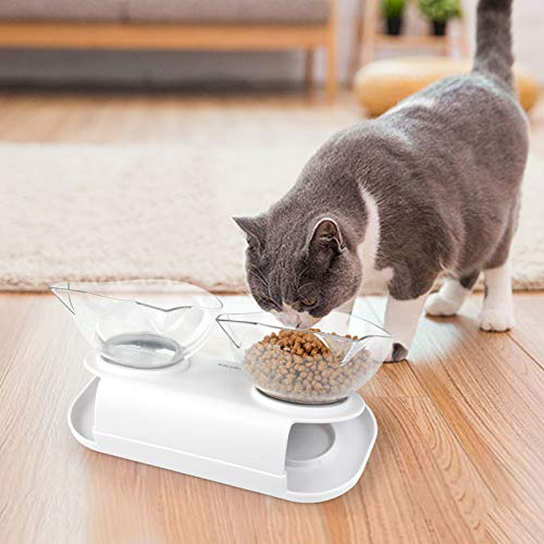 Cat Food Bowls Double Raised - Dorakitten Cat Feeding Bowl Double Kitten Dishes Kitty Water Feeder Raised with Stand for Cats & Small Dogs