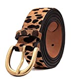 Women's Leopard Print Leather Belt for Pants Jeans Waist Belt with Alloy Buckle By LOKLIK (XS(26'-29'))