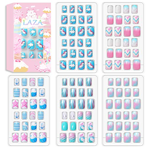 Laza 120pcs Children Nails Press On Pre-glue Full Cover Nail Tips Kit Glitter Gradient Color Rainbow Short Artificial False Nail Kits Lovely Christmas Gift for Children Kids Girls - Ocean Seashell