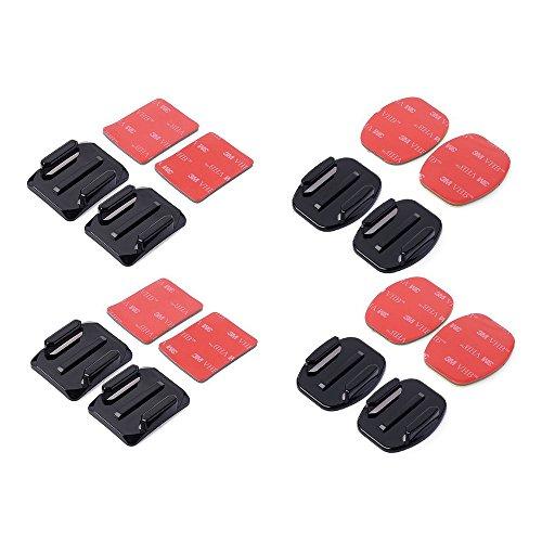 SMARTEX - Set 8 supporti adesivi 4 pezzi piatti e 4 curvi con adesivo 3M compatibile con accessori videocamera sportiva Gopro Hero 2 3 3+ 4, sjcam, sj4000, procam