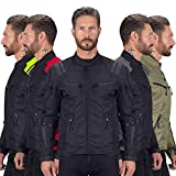 Viking Cycle Ironborn Protective Textile Motorcycle Jacket for Men - Waterproof, Breathable, CE Approved Armor for Bikers (Black, 2XL)