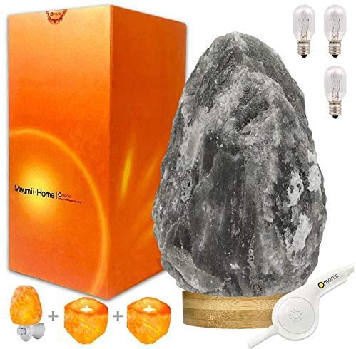 Rare Grey Gray White Black Authentic Himalayan Salt Lamp Lights Set