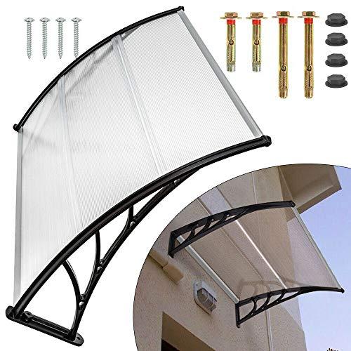Berkalash Marquesina transparente para puerta de casa, color negro transparente, para exteriores, 120/150/200 cm, para puertas/ventanas/escaparates (120 cm)