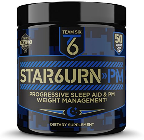 T6 STAR6URN-PM – Fat Burner and Sleep Aid for Muscle-Preserving Weight Loss and Stress Relief, Green Coffee Bean and Garcinia Cambogia Extract, 50 veggie caps 1