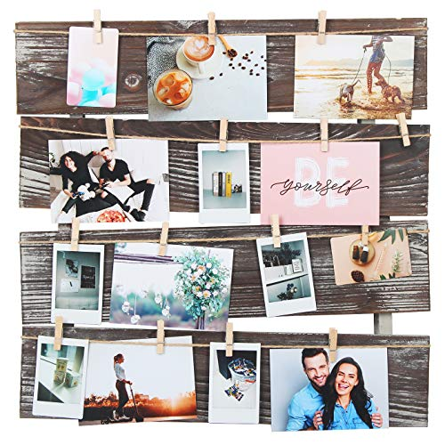 J JACKCUBE DESIGN Wall Mount Rustic Wood Clip Photo Holder, Photo...