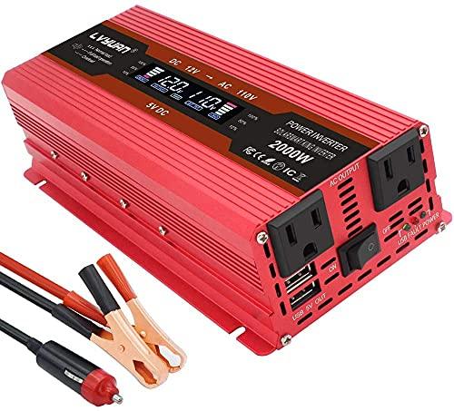 IpowerBingo インバーター 12V 定格 1000W 最大 2000W DC12V(直流)AC100V(交流)変換 カーインバーター ...
