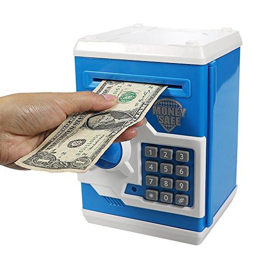 HUSAN Salvadanaio Elettronico per Bambini, Password Salvadanaio Mini ATM Piggy Bank Giocattolo Regalo di Compleanno per bambini (Blu)