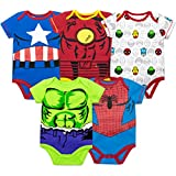 Marvel Baby Boys' 5 Pack Bodysuits - The Hulk, Spiderman, Iron Man and Captain America (18 Months)