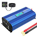 Pure Sine Wave 2000Watt Car Power Inverter Converter DC 12V to 120V AC with Remote Control and LCD Display 1 AC Terminal Block 2 AC Outlets 2x2.4A USB Ports for RV Truck Boat by VOLTWORKS (12VBlue)