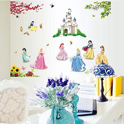 Kibi Adesivi da Parete Principesse Disney Cameretta Adesivo da Parete Principessa Adesivi Murali Principesse Adesivi Muro Camera da Letto Bambini Principesse Stickers Muro Principesse Disney