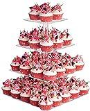 YestBuy 4 Tier Acrylic Cupcake Stand, Premium Cupcake Holder, Acrylic Cupcake Tower Display Cady Bar...