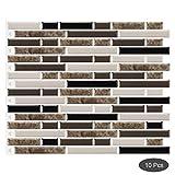 decalmile 10 Pièces Stickers Carrelage 3D 28x23,5cm Marbre Brun Carrelage Adhésif...