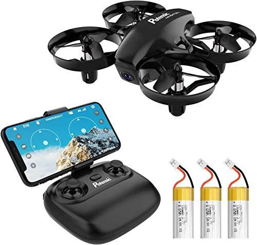 Potensic Mini Drone con Tre Batterie con Telecamera HD A20W WiFi FPV RC Quadricottero 2.4GHz Giroscopio a 6 Assi Mantenere l'Altitudine, modalit Senza Testa per Bambini Principianti
