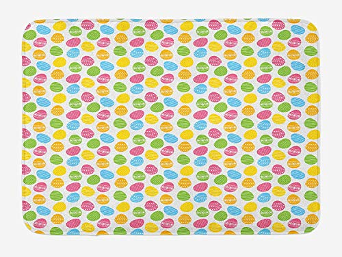 EJjheadband Easter Bath Mat, Greeting The Colorful And Fun Spring Season April Holiday Celebration with Food, Plush Bathroom Decor Mat with Non Slip Backing, 23.6 x 15.7 Inches, Multicolor