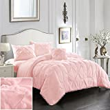 EVOLIVE 4pc Set Pinch Pleat/Kiss Pleat, Pintuck Down Alternative Comforter Set with Pompom (Full/Queen, Pink)