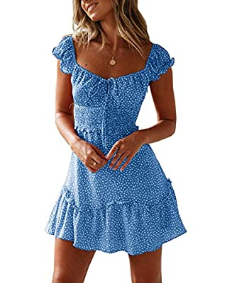 ❀ Models Measurement: Bust - 33.85 inch, Waist - 24.01 inch, Hips - 33.85 inch, she wears size in small. ❀ This dress features smocked elastic waist, lightweight polyester material, tie front, polka dot printed. Cute boho swing dress with ruffle hem,...