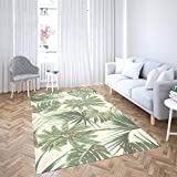 Sertiony Modern Area Rug Washable Area Rug 5X7 Feet Palm Trees Tropical Leaves Monstera Leaf Summer Pattern Background Botanical Decoration Living Room Bathroom Bedroom