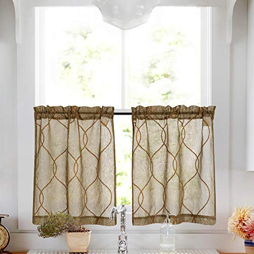 Embroidery Kitchen Curtain Units three Pcs Moroccan Trellis Sample Embroidered Semi Sheer Kitchen Tier Curtains and Valance Set 36 inch for Rest room, Taupe