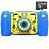 AKAMATE Kids Dual Selfie Camera, 1080P 12MP Kids Digital Camera with 32GB SD Card Children Video Camera Camcorder Toys Gifts for 4-10 Year Old Boys Girls, Build-in 5 Games, Voice Recorder (Blue)