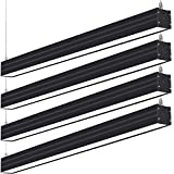 Hykolity LED Architectural Suspended Linear Channel Light Linkable, 4FT 40W 3000K/4000K/5000K CCT Selectable, Black Finish Dimmable Office Lighting Fixture for Commercial Places, 4600lm, ETL, 4 Pack