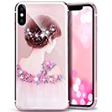 iPhone X Case,iPhone X Crystal Clear TPU Case,PHEZEN Butterfly Flower Fairy Design Glitter Bling Crystal Diamond Transparent Soft TPU Bumper Silicone Back Case Cover for iPhone X, Flower Girl