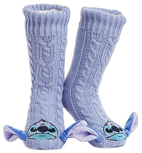 Disney Calze Antiscivolo Invernali Personaggi Mickey Minnie Stitch - Calze a Pantofola Morbide e...