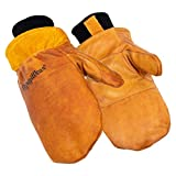 RefrigiWear Men's Water-Repellent Latex Dipped Insulated Cowhide Leather Mittens (Gold, X-Large)